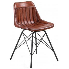 Hnědá kožená židle LaForma Tribu
