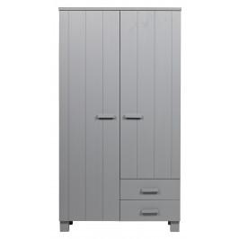 Hoorns Světle šedá dřevěná šatní skříň Koben 111 cm se šuplíky
