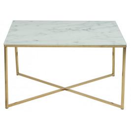 SCANDI Bílý skleněný konferenční stolek Venice 80x80 cm
