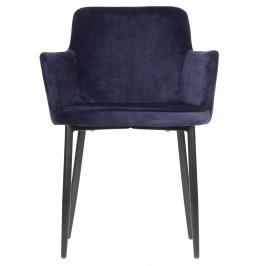 Hoorns Modrá sametová jídelní židle Meggi
