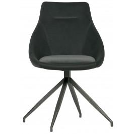 Hoorns Set dvou antracitově šedých sametových jídelních židle Orma