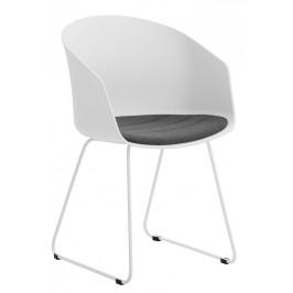 SCANDI Bílá plastová jídelní židle Parley s bílou podnoží