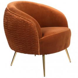 Oranžové sametové lounge křeslo Bold Monkey So Curvy