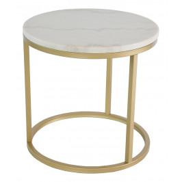 Bílý mramorový konferenční stolek RGE Accent se zlatou podnoží Ø 50 cm