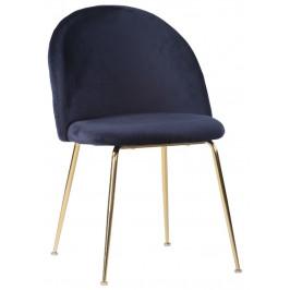 Nordic Living Modrá sametová jídelní židle Anneke se zlatou podnoží