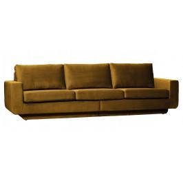 Hoorns Medově žlutá sametová pohovka Chanelle 282 cm