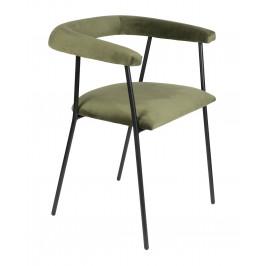 Tmavě zelená sametová jídelní židle DUTCHBONE Haily