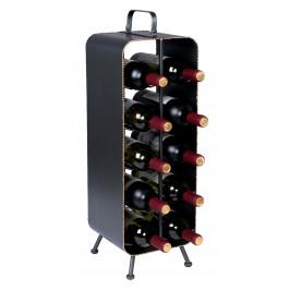 Černý kovový stojan na víno DUTCHBONE Stalwart