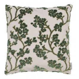 Zelený polštář ZUIVER APRIL s květinovým vzorem