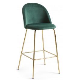 Tmavě zelená sametová barová židle LaForma Mystere