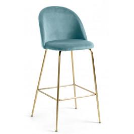 Zelená sametová barová židle LaForma Mystere