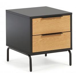 Matně černý dřevěný noční stolek LaForma Savoi