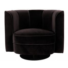 Černé otočné sametové lounge křeslo DUTCHBONE Flower