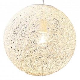 Moebel Living Bílé závěsné kulaté světlo Moon 60 cm