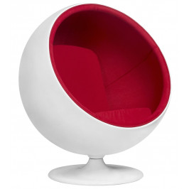 Culty Gold Bílé otočné křeslo Ball Chair s červeným čalouněním