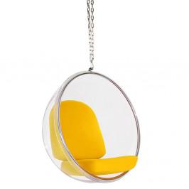 Culty Gold Závěsné křeslo Ball chair se žlutými polštáři