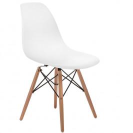 Culty Bílá plastová židle DSW s přírodní bukovou podnoží
