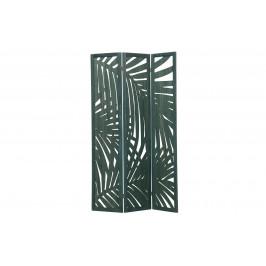 Hoorns Zelený dřevěný paravan Isla s palmovým vzorem