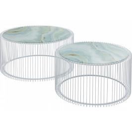 KARE DESIGN Set dvou bílých mramorových konferenčních stolků Wire 69 cm