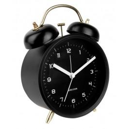 Time for home Černo-zlatý kovový budík Bell