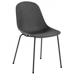 Tmavě šedá plastová jídelní židle LaForma Quinby