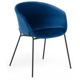 Modrá sametová jídelní židle LaForma Zadine