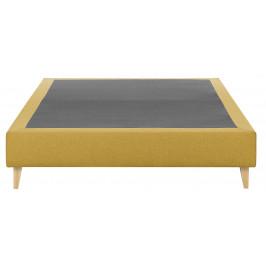 Hořčicově žlutá čalouněná postel LaForma Nikos 180x200 cm