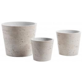 Set tří šedých betonových květináčů LaForma Lux I.