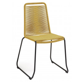 Hořčicově žlutá proplétaná zahradní židle LaForma Meagan