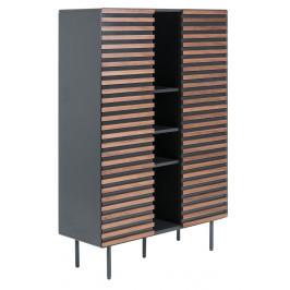 Grafitově černá dřevěná skříň LaForma Mahon 105x155 cm