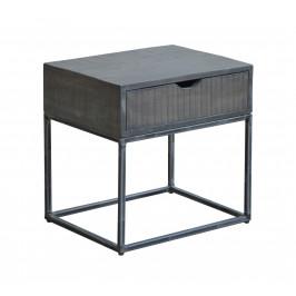 Moebel Living Šedý masivní noční stolek Fabio 45 cm