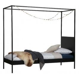 Hoorns Černá kovová postel Iris 90x200 cm s nebesy