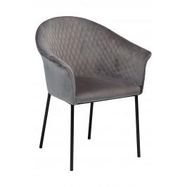 DAN-FORM Šedá sametová jídelní židle DanForm Kite