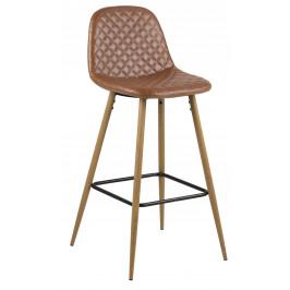 SCANDI Hnědá čalouněná barová židle Wanda s dubovou podnoží