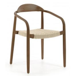 Béžová dřevěná jídelní židle LaForma Glynis s područkami
