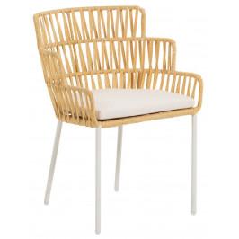 Hořčicově žlutá ratanová jídelní židle LaForma Robyn