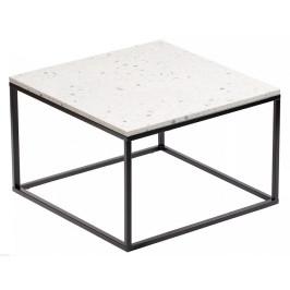 Čtvercový terrazzo konferenční stolek RGE Accent Bianco s černou podnoží 75x75 cm