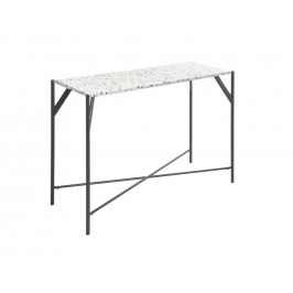 Bílý terrazzo odkládací stolek RGE Air s černou podnoží 75 cm