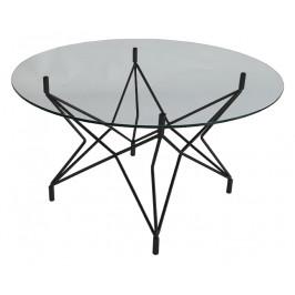 Skleněný kulatý konferenční stolek RGE Star s černou podnoží 90 cm
