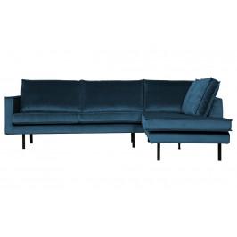 Hoorns Modrá sametová rohová pohovka Raden 266 cm, pravá