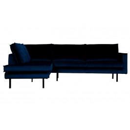 Hoorns Tmavě modrá sametová rohová pohovka Raden 266 cm, levá