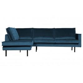 Hoorns Modrá sametová rohová pohovka Raden 266 cm, levá