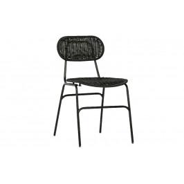 Hoorns Černá ratanová jídelní židle Tyla