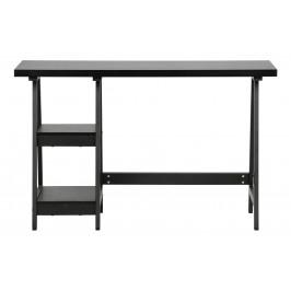 Hoorns Černý dřevěný pracovní stůl Fabian 119 cm