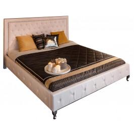 Moebel Living Bílá kožená postel Calderon 180x200 cm