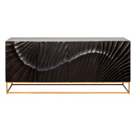 Moebel Living Černá masivní dřevěná komoda Remus 177 x 45 cm