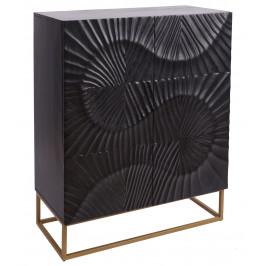 Moebel Living Černá masivní dřevěná komoda Remus 100 x 45 cm