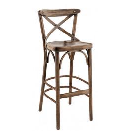 SitBe Hnědá dřevěná barová židle Shelby s patinou