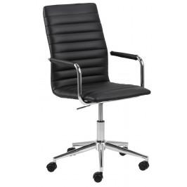 SCANDI Černá čalouněná konferenční židle Aqua s chromovou podnoží