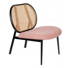 Růžové čalouněné lounge křeslo ZUIVER SPIKE s ratanovým opěradlem